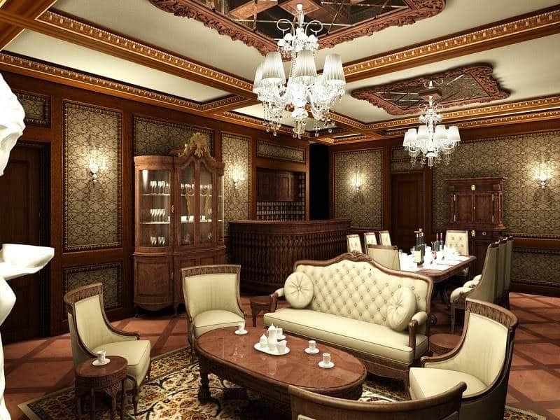Phòng khách với gam màu cổ điển tôn lên vẻ trang nhã, lịch sự