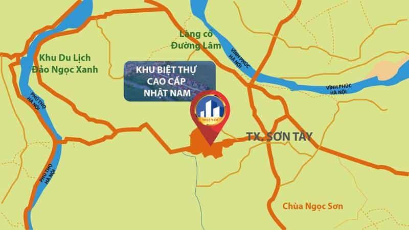 Vị trí khu biệt thự Sơn Tây - Hà Nội của bất động sản Nhật Nam