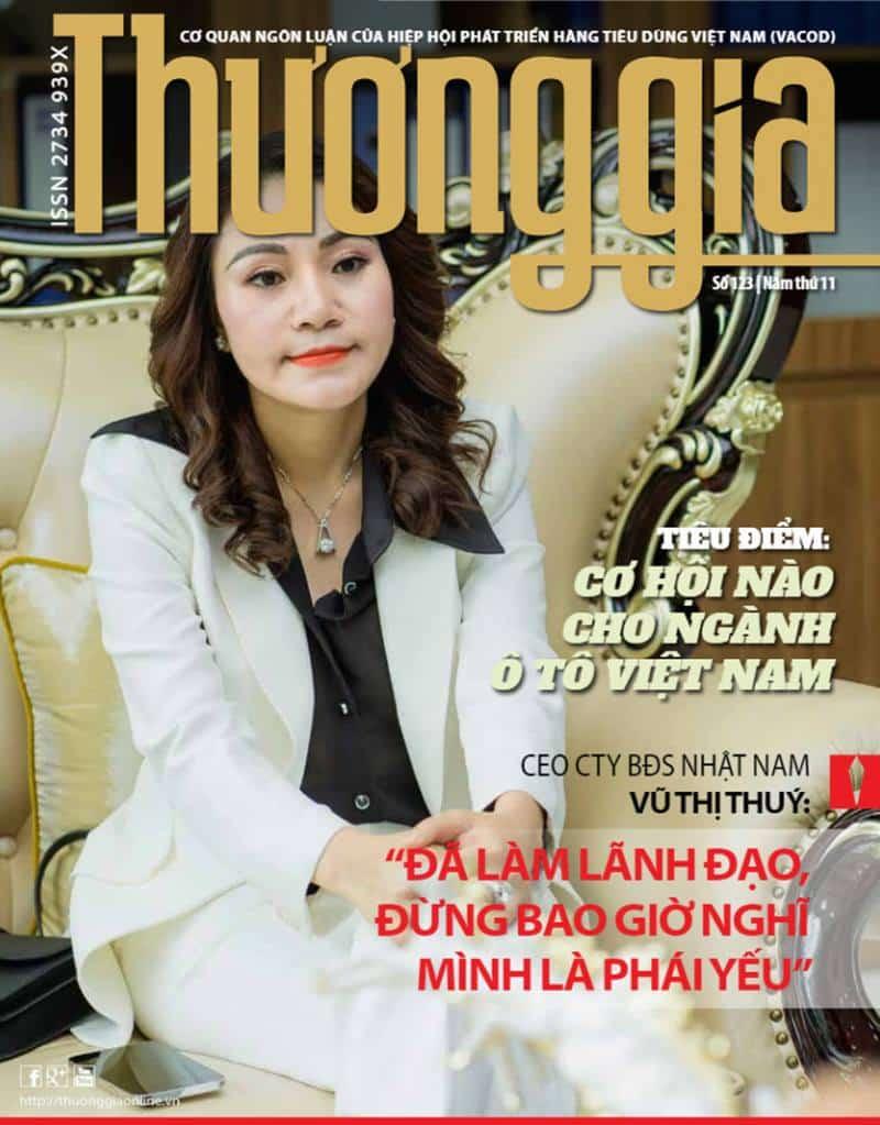 Nữ doanh nhân tài ba- Chủ tịch Vũ Thị Thuý xuất hiện trên tạp chí Thương gia.